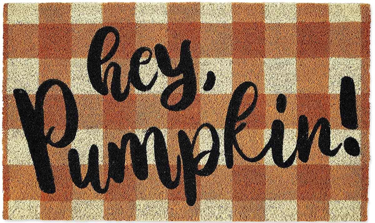 Hey pumpkin plaid fall doormat