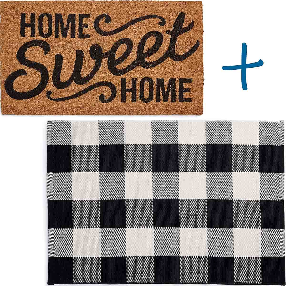 This cute doormat layered over a larger buffalo checked rug is perfect for your front door!