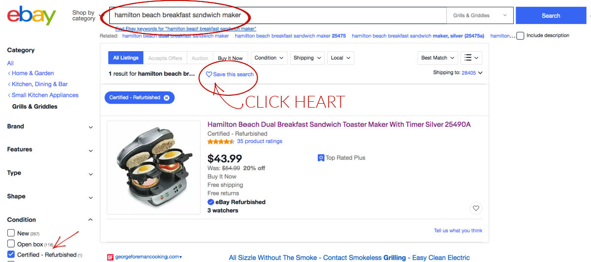 How to get a notification from eBay when new items matching your search criteria are added!