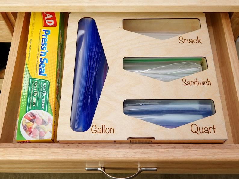 This kitchen drawer baggie organizer allows you to keep your baggies in a shallow kitchen drawer!