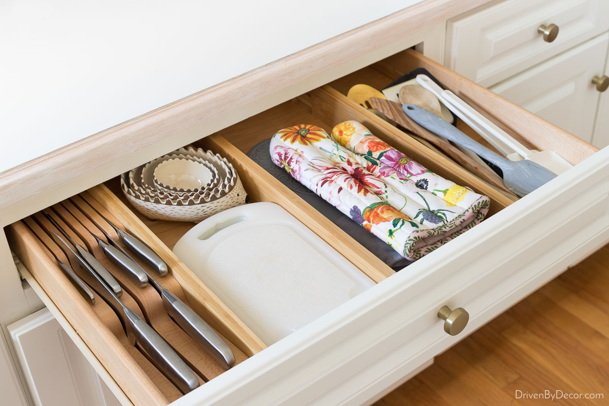 Expandable wood dividers are perfect for organizing your kitchen drawers!