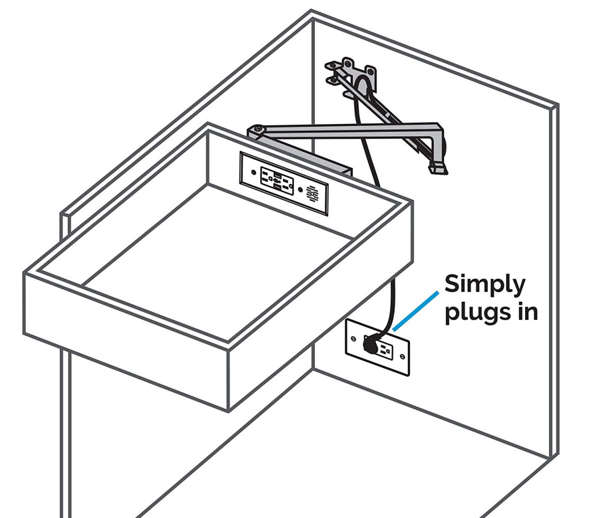 Add an outlet to the inside of your kitchen drawer!