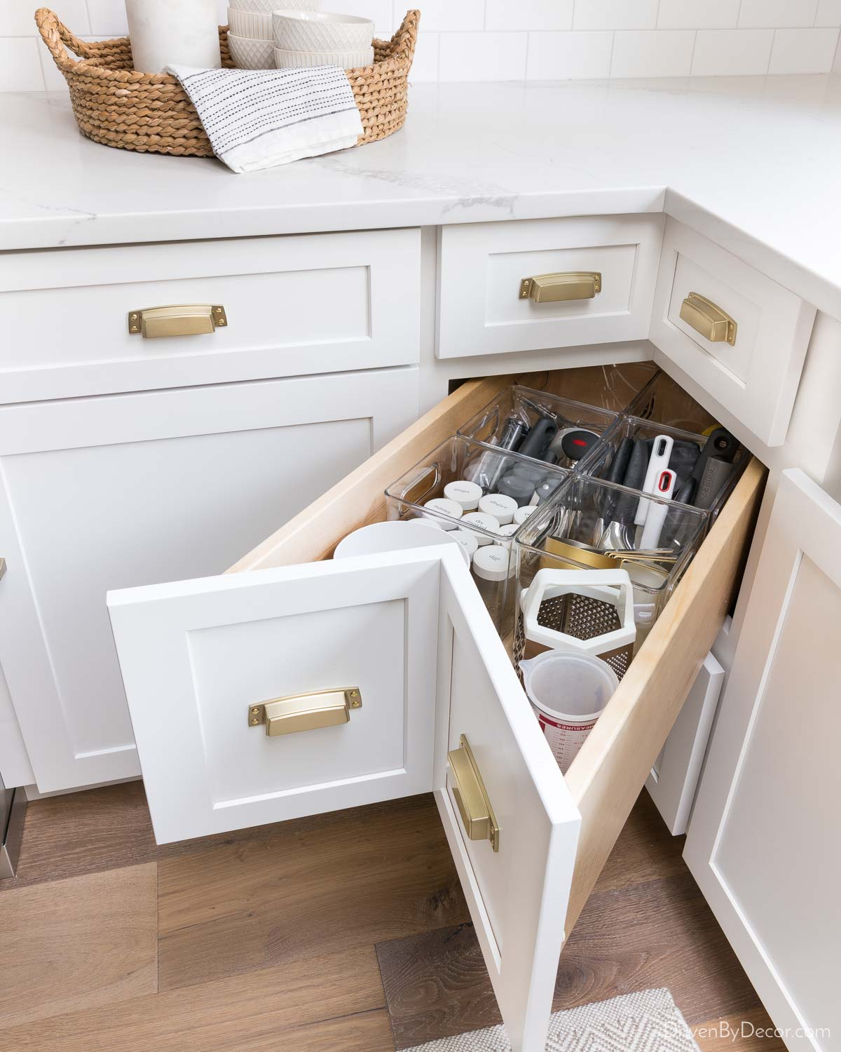 These deep bin kitchen drawer organizers create so much more usable space!
