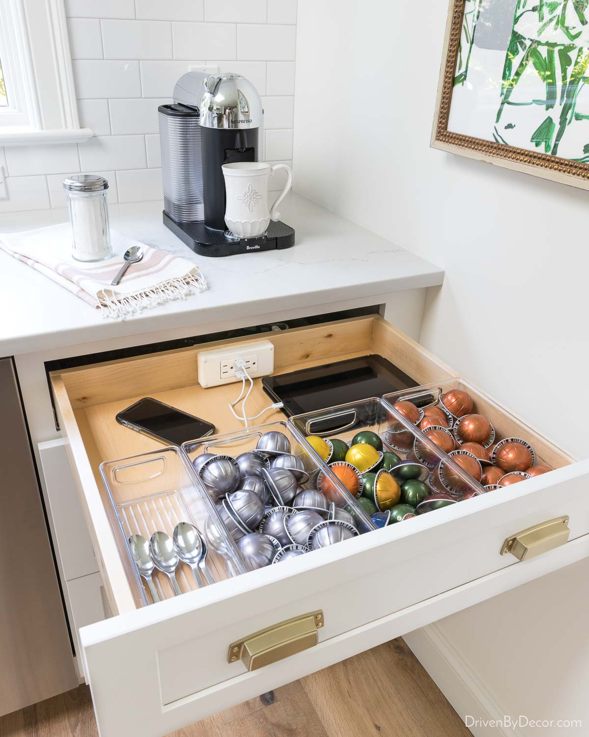 Having an outlet in the back of a kitchen drawer is awesome for charging electronics without countertop clutter!