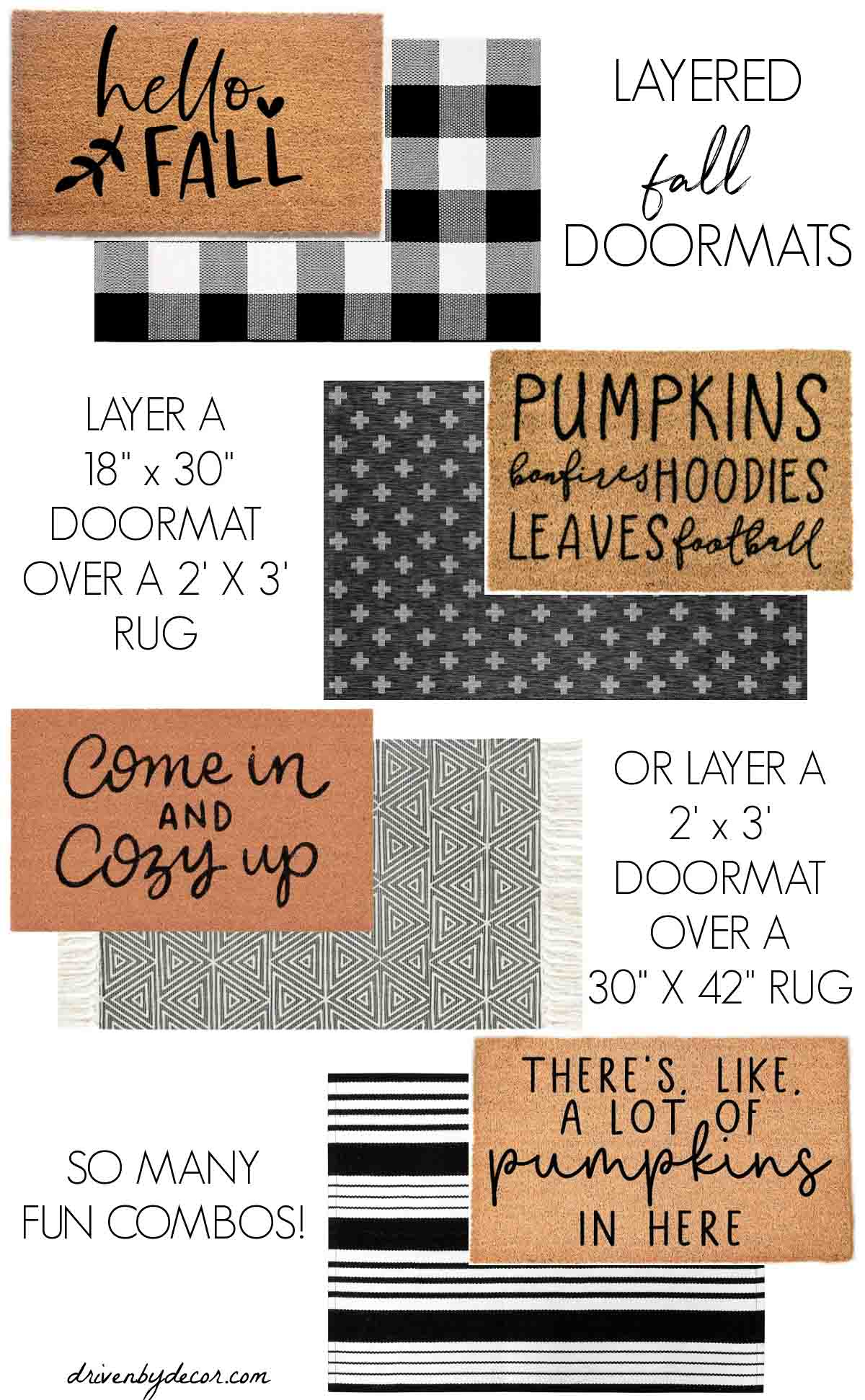 Love these layered fall doormat combos!