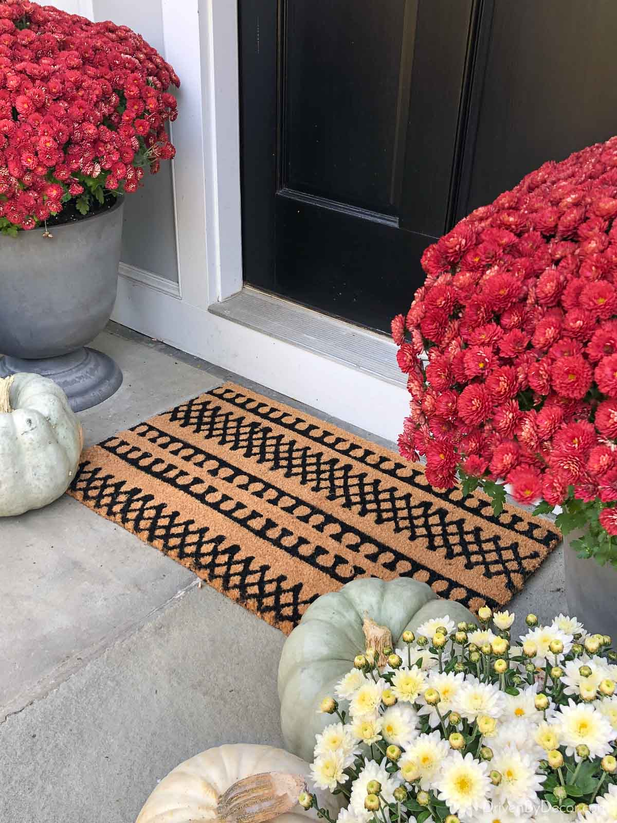 Love this inexpensive patterned doormat with fall mums!
