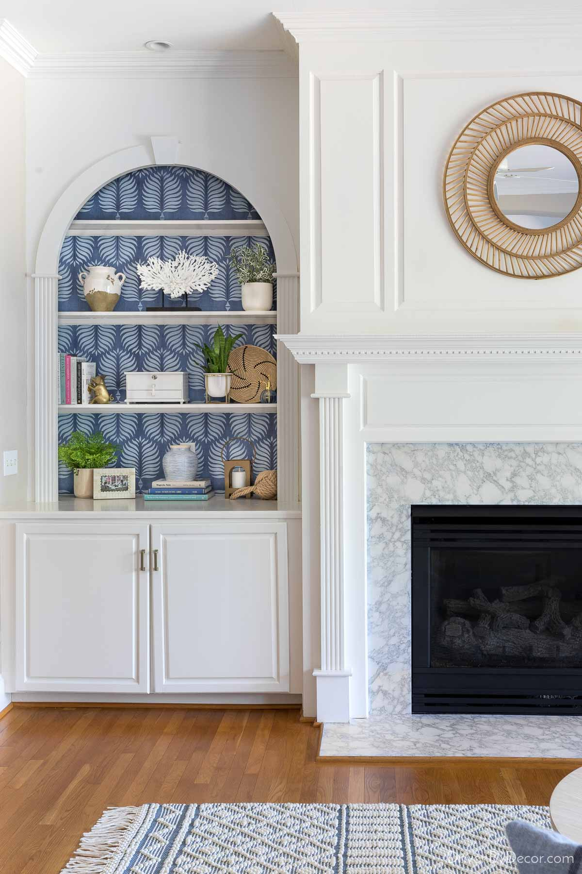 A favorite wallpaper idea - add a patterned or textured wallpaper to the back of a bookcase!