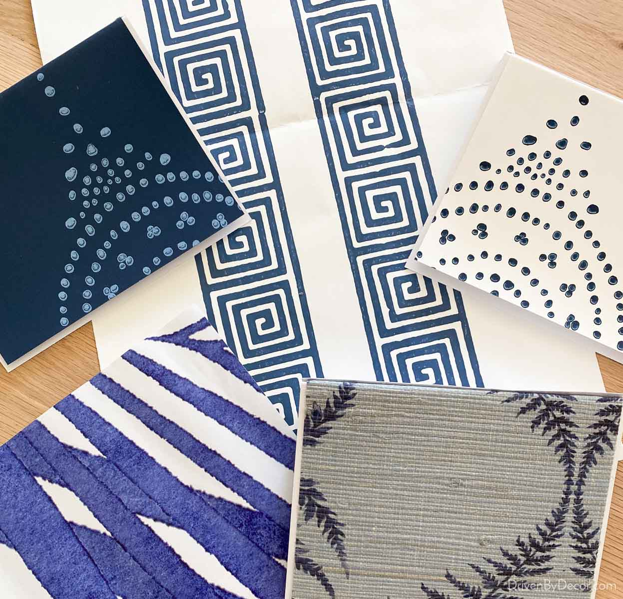 Wallpaper samples that I'll be using to create my own patterned coasters! Love this wallpaper idea!