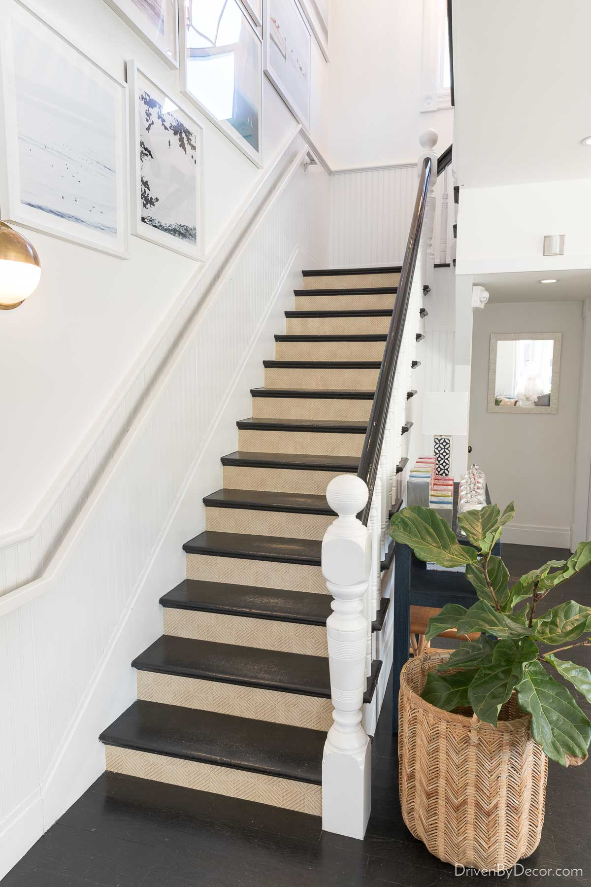 Love the wallpaper idea of adding a subtle patterned paper to the stair risers!