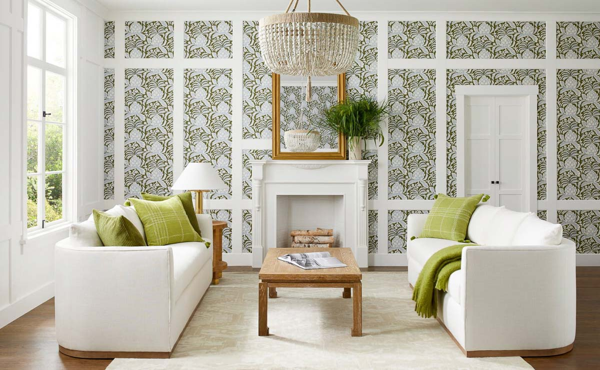 Love this wallpaper idea! Add wallpaper inside molding boxes on an accent wall!