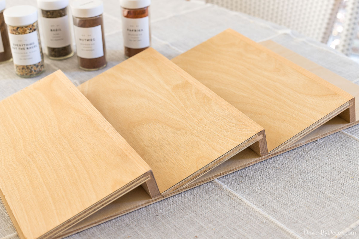 This wood spice drawer organizer was just what we needed in our kitchen!