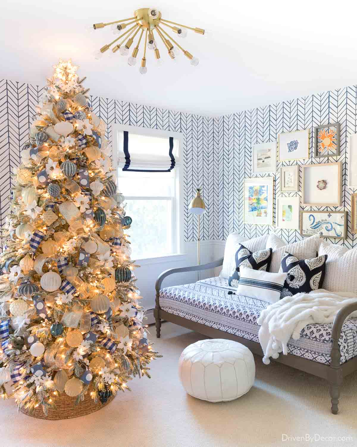 A gorgeous faux frosted artificial Christmas tree